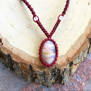 Adjustable boho macrame rhodocrhosite necklace
